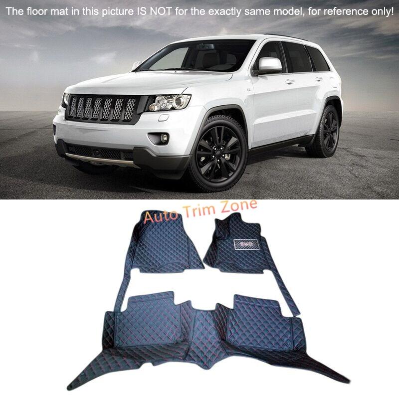 Black Interior Leather <font><b>Floor</b></font> Mats & Carpets Foot Pads For <font><b>Jeep</b></font> <font><b>Grand</b></font> <font><b>Cherokee</b></font> 2011-2013