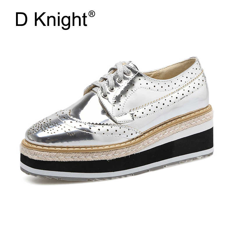 Retro Brogue Patent PU Leather Woman Oxford Shoes British Style Vintage Flat Platform Shoes Casual Oxford Shoes for Women SilverRetro Brogue Patent PU Leather Woman Oxford Shoes British Style Vintage Flat Platform Shoes Casual Oxford Shoes for Women Silver