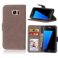 Scrub Case For Samsung Galaxy S7 Leather Wallet Flip Hoesjes Frame Card Slot Cover Case For