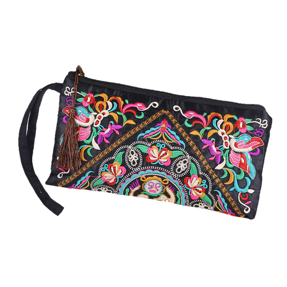 New Women Wallet Embroider Purse Clutch Mobile Phone Bag Coin Bag-butterfly Flower