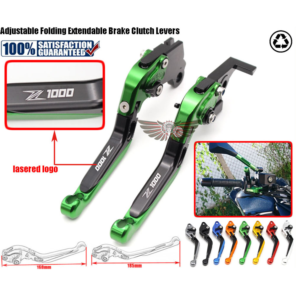 цены  Folding Extendable Brake Clutch Levers For Kawasaki Z1000 2007-2016 With Logo:Z1000 2008 2009 2010 2011 2012 2013 2014 2015 2016