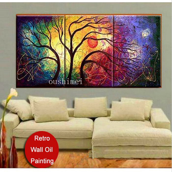 Handmade 3 Panels Free Shipping Sunrise Landscape Wall