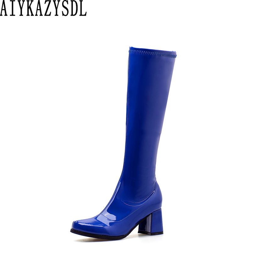 AIYKAZYSDL Women Vinyl Glossy Leather Boots Faux Patent Leather Knee High Ridding Knight Boots Party Clubwear Block Thick Heels hongyi women motorcycle biker ankle boots glossy leather rhinestone crystal ridding bootie bow butterfly knot shoes thick heels