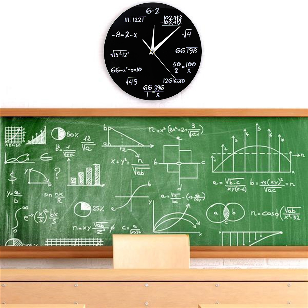 Engineering Numbers Math Wall Clock Math Equation Decorative Clock Pop Quiz Wall Art Science Gift For Math Geeks And Teachers