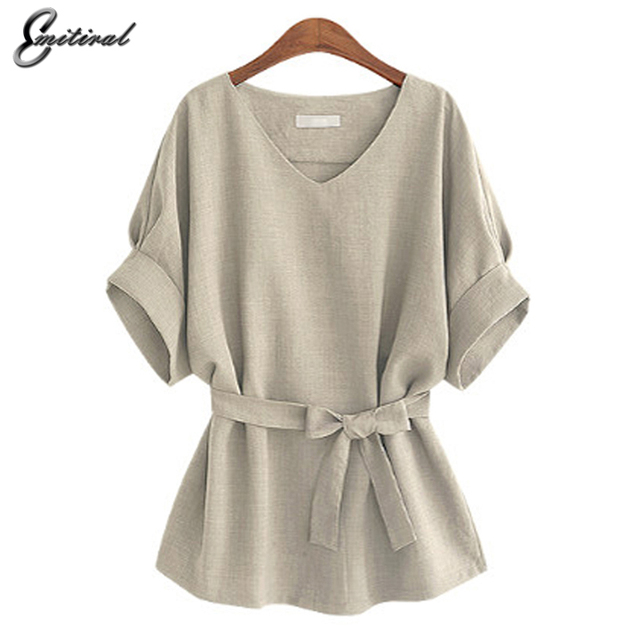 a9e233a897d16 2018 Summer 5XL Plus Size Women Shirts Linen Tunic Shirt V Neck Big Bow  Batwing Tie