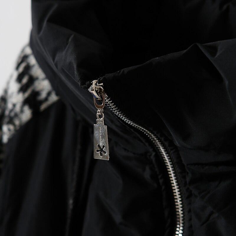 Littérature Coton D'hiver Treillis Vêtements Épaissie Black Femelle Manteau Et Couture Zipper Chapeau Art W8621 2018 Grand RzxgwOqdR