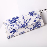 2017 NEW Blue And White Porcelain Printing Women Enveing Party Clutch Bag Fashion Ethnic Style PU