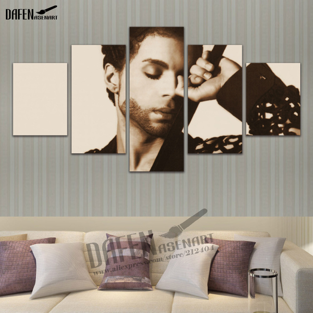5 Pieces Canvas Prints Paintings Musician Prince Rogers Nelson Painting Home Decor Modern Wall Art Picture