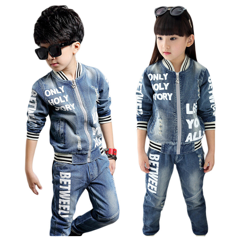 2015 Casual Children Clothing Set Kids Baby Boy Sport Clothes Suit Fashion Girl Suits Denim Jeans +Coat 2 PCS Sets 15 free shipping top striped dress children baby 3 pcs suit set girl s clothing sets girls sport suits chilren set