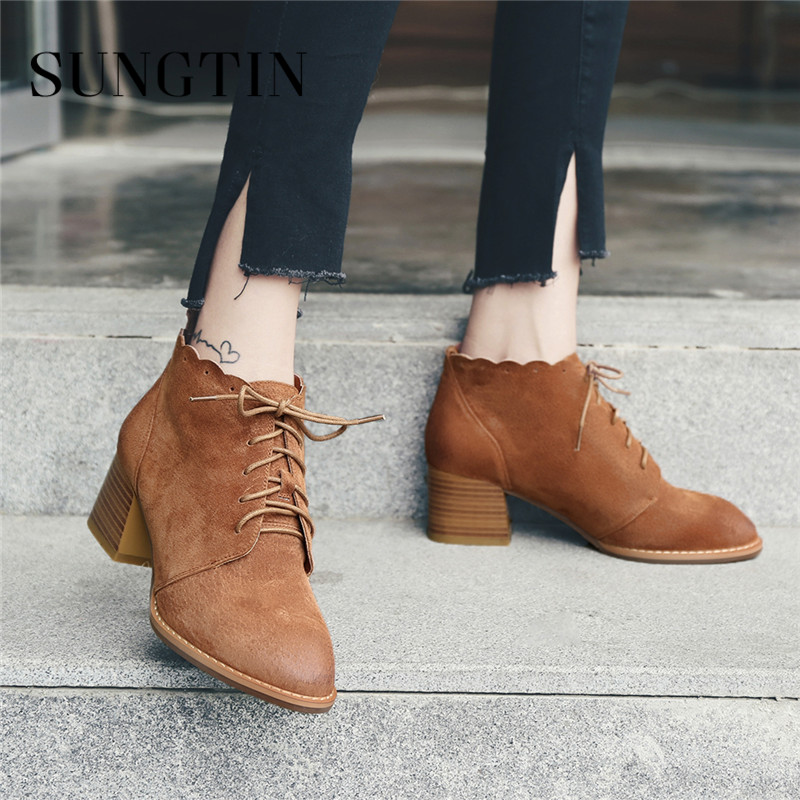 Sungtin Genuine Leather Short Riding Boots Winter Warm Lace-up Women Ankle Boots Casual Plus Size Martin Boots Ladies Booties цена 2017
