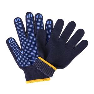 Image 4 - מקצועי עבודה כפפות GMG חיל הים כחול Polycotton פגז כחול PVC נקודות ציפוי עבודת בטיחות כפפות כותנה כפפות