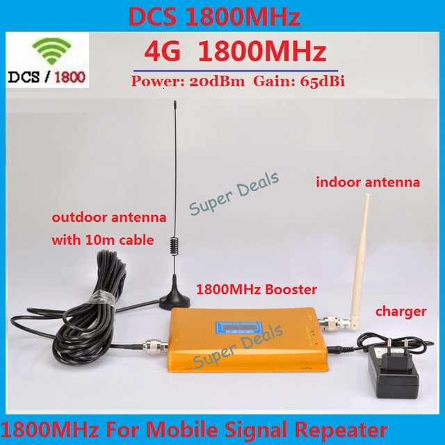 LCD Display ! GSM Repeater 1800 Mobile Phone Signal Booster ,4G GSM LTE  1800MHZ Signal Repeater , Cell Phone Amplifier + Antenna-in Signal Boosters