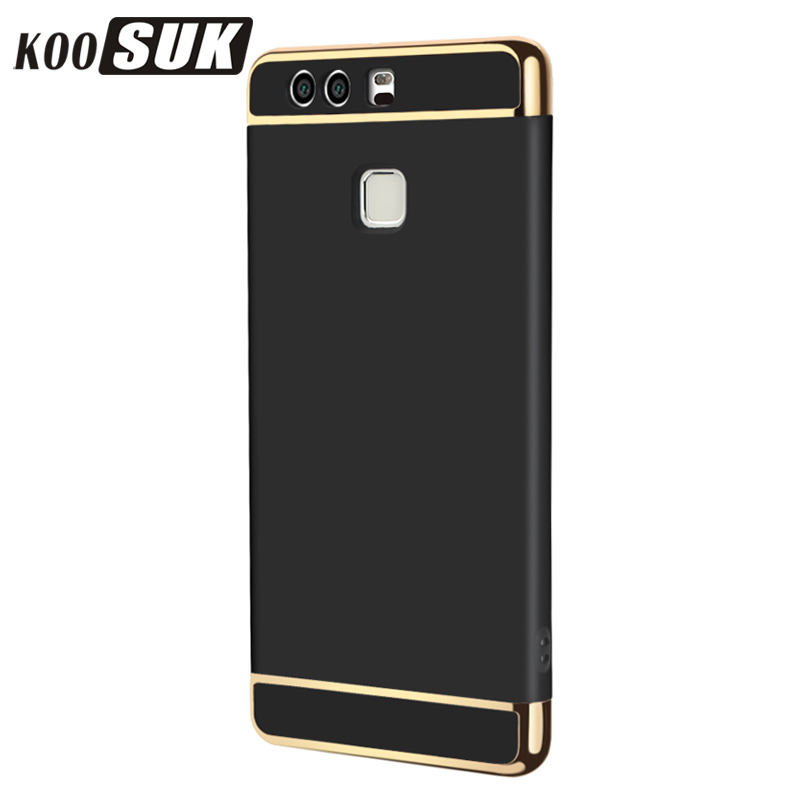 KOOSUK Back Cover For Huawei P9 Case Coque Luxury Gold Plating 3 in 1 Hard Plastic Phone Case For Huawei Ascend P9 Shell Black