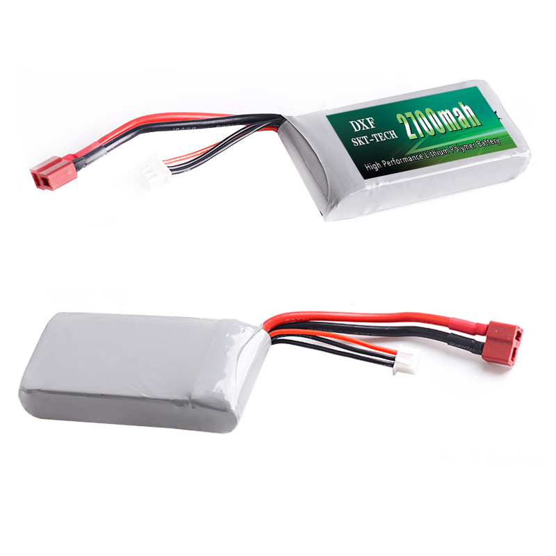 Image 4 - 2PCS DXF RC Lipo Battery 2s 7.4V 2700mAh 4200mah 20C Max 40C For Wltoys 12428 feiyue 03 JJRC Q39 upgrade parts-in Parts & Accessories from Toys & Hobbies