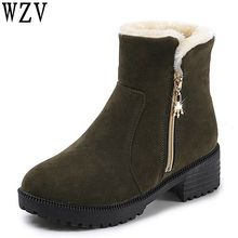 Women Boots Female Winter Shoes Woman Fur Warm Snow Boots Fashion Square High Heels Ankle Boots Black gray Boots E297(China)