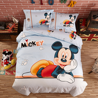 Happy mickey bedding set disney cartoon Duvet Cover Flat Sheet Pillow Cases Single Queen Size Bed Linen For girl bedding