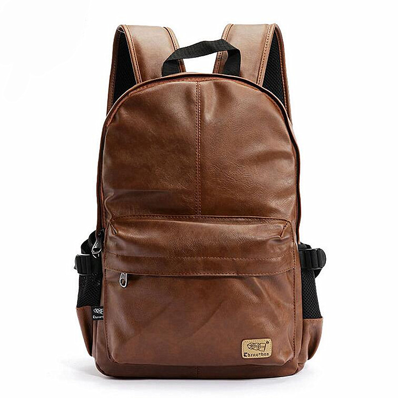 Fashion Brand Men's Backpack PU Leather Backpacks Male School Bag Laptop Backpack Man Black/Brown Waterproof Travel Backpack X23 2017 new korean man pu leather backpack male new style junior middle school students leisure travel backpack fashion bag