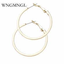 WNGMNGL Hot Punk Girls Statement Earrings Jewelry 40mm Alloy Smooth Silver And Gold Color Big Hoop For Women 2018