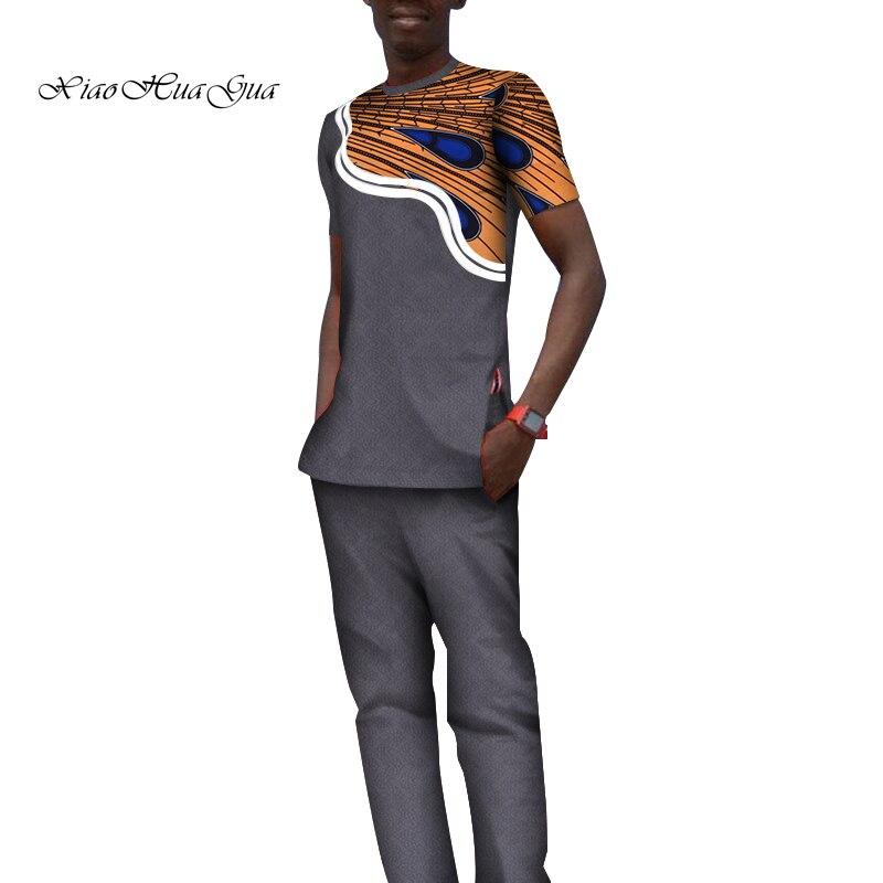 Impression traditionnelle africaine Dashiki pour hommes haut décontracté t-shirts et pantalons pantalon ensemble grande taille vêtements africains hommes ensemble WYN797