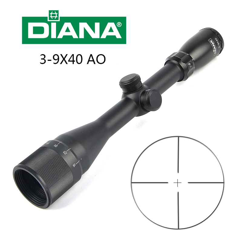 DIANA 3 9X40 AO Tactical Riflescope Glass Double Crosshair Reticle Collimator Sight Hunting Rifle Scope Lunette