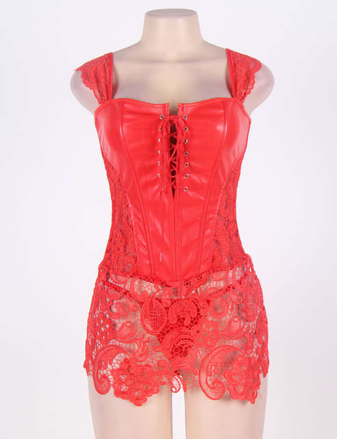 045bf2620 placeholder AW2227 Transparent lace plus size corset lingerie back zipper  faux leather body harness women red