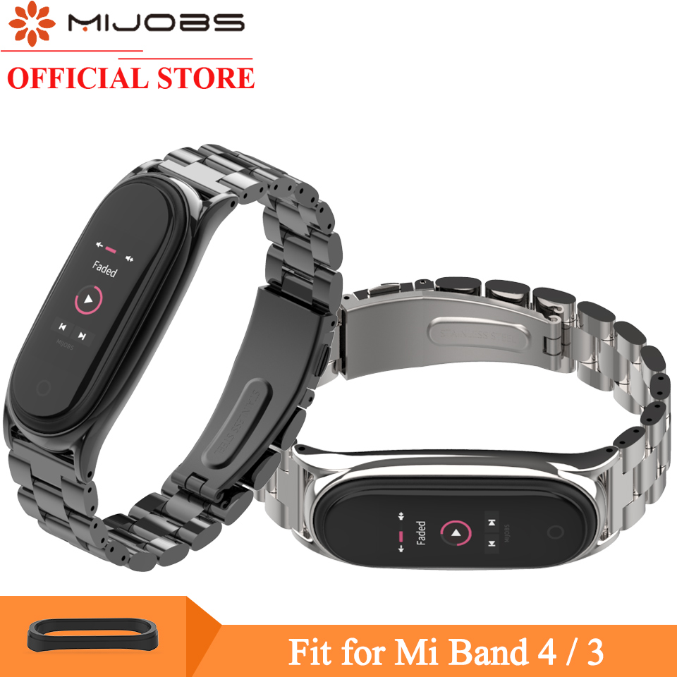 Mijobs Mi Band 4 Wrist Strap For Xiaomi Mi Band 3 4 Smart Watch Bracelet Screwless Stainless Steel Metal Miband 3 4 Wristbands