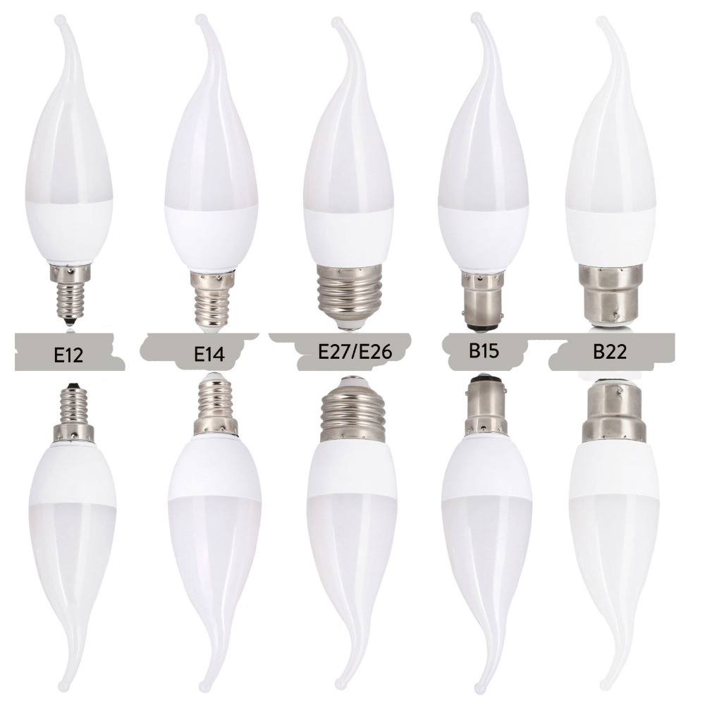 10PCS/Lot Led Candle Bulb Light Candle Light Lamp E14 E27 E12 B22 B15 3W SMD2835 Warm White Cold White Chandelier Spotlight