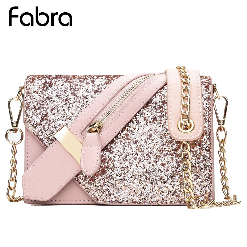 New Women Sequined Messenger Bag Quality Leather Womens Flap Bag Chain Strap Female Shoulder Bag Evening Party Crossbody Bags