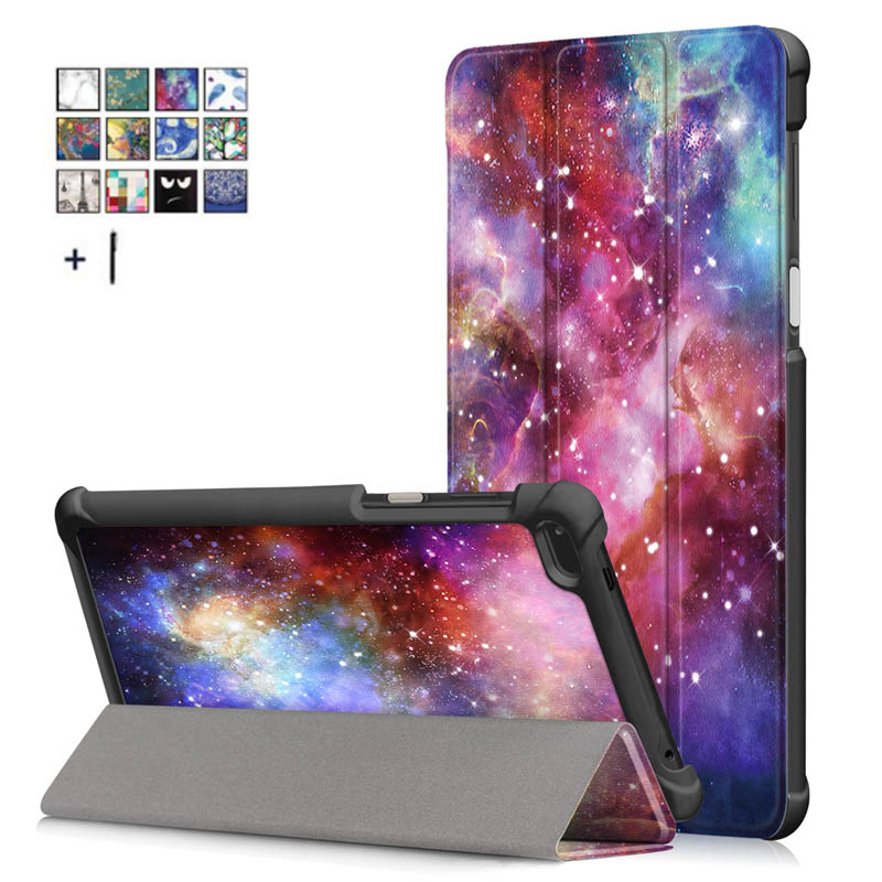 Capa Fundas For Lenovo Tab 7 TB-7504F Tablet Case For Lenovo Tab 4 7 TB-7504X/F/N Smart Print Flip Leather Stand Cover +Stylus планшет планшет lenovo tab 4 tb 7504x za380087ru mediatek mt8735b 1 3 ghz 2048mb 16gb gps 3g lte wi fi bluetooth cam 7 0 1280x720 android