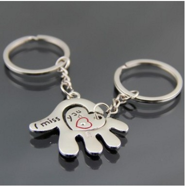 1 Pair Hand Key Chain Cute Hand Red Pendant Couple Keychain I MISS YOU Valentine's Day Memorial Gift