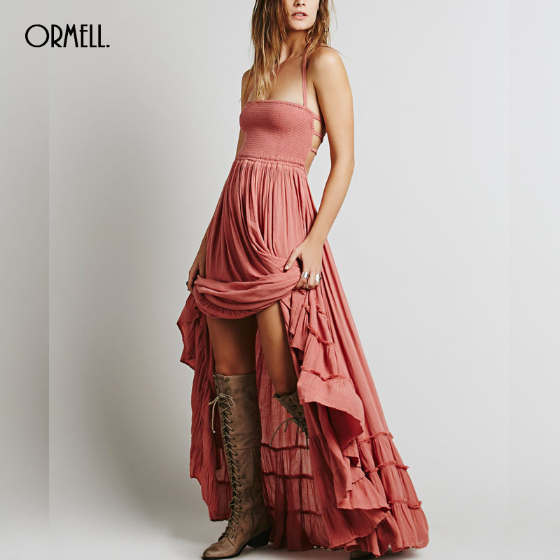 ORMELL New Fashion Ladies' Elegant Maxi Dress Vintage Long Beach Dress Suspender Sleeveless Backless Slim Brand Design