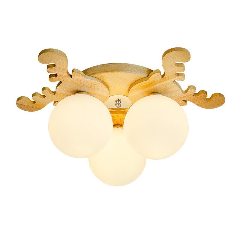 Antlers Atmosphere Living Room LED Ceiling Lights Japanese Tatami Modern Bedroom Solid Wood Creativity Light Fixture Lamp