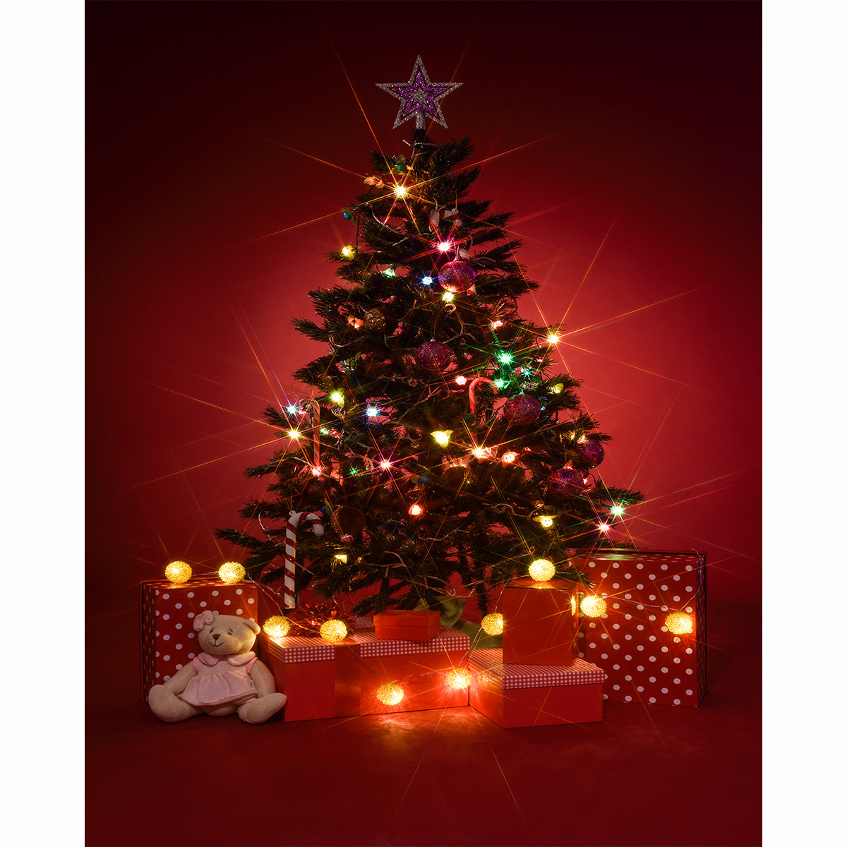 Christmas Tree Photography Background Xmas Winter Red Xmas New Year