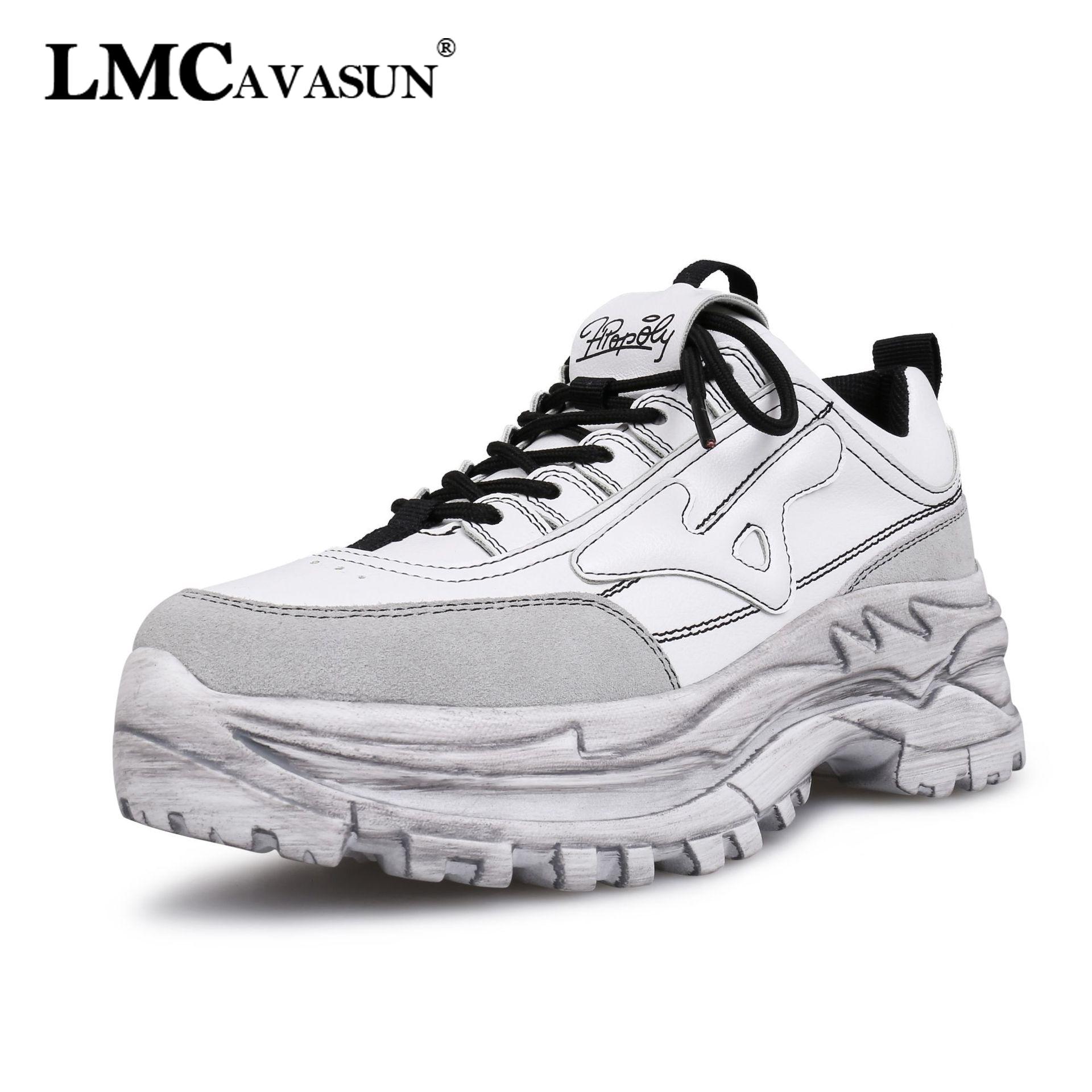 LMCAVASUN nouveau respirant Chunky plate-forme Sneakers femmes vache daim cuir chaussures Femme baskets à la mode Femme chaussures Basket Femme