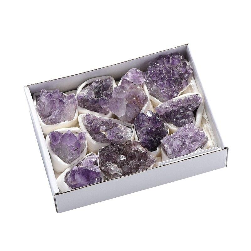 Offre spéciale 800-1000g Quartz naturel améthyste Cluster pierres précieuses de guérison spécimen mascotte exquise décorations pour la maison pierre minérale
