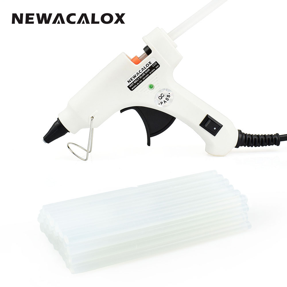 NEWACALOX 20W EU/US Hot Melt Glue Gun with Free 20pc 7mm Glue Stick Industrial Mini Guns Thermo Electric Heat Temperature Tool 1pcs yellow 300w temperature constant electric thermo heating hot melt adhesive glue gun pistol puller for 11mm glue stick