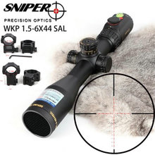 SNIPER WKP 1.5-6X44 SAL Hunting Rifle Scope Side Parallax Adjustment Glass Etched Reticle RG Illuminated with Bubble Level new leupold mark 4 m4 4 12x40 mm ao illuminated mildot side wheel hunting scope page 7