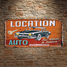 1pc Car rental Auto French auto plaques door Tin Plate Sign wall man cave Decoration Poster metal vintage retro decor shop