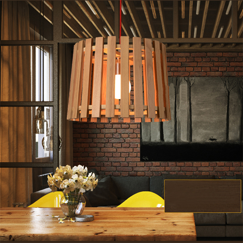 Wood LED Pendant Lights Project Brand Design Modern Minimalist Creative Art Deco Living Room Hotel Light Fitting