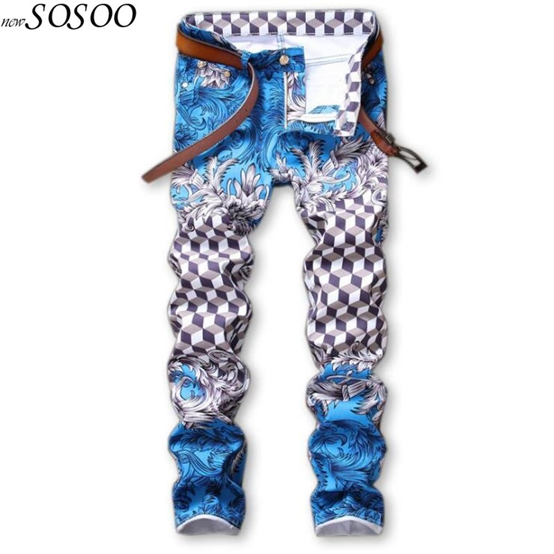 slim   jeans   pants for men cotton skinny printed   jeans   men nightclubs singers European and American style fashion #586
