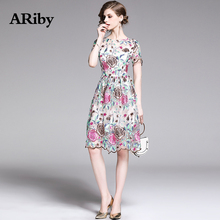 ARiby Women Summer Sweet Mesh Lace Floral Dress 2019 New Fashion Elegant Embroidered Flower Short-sleeved O-Neck A-Line