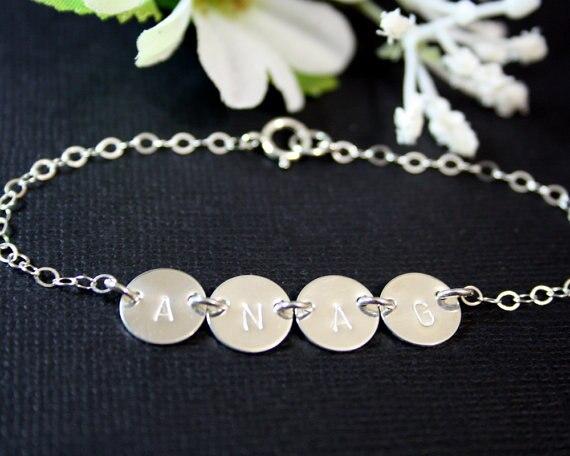 Custom Initial Bracelet Four Discs Sterling Silver Engraved Family Birthday Gift