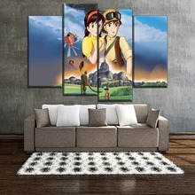 Canvas Wall Art Picture Home Decor Bedroom 4 Pieces Movie Castle in the Sky Cartoon Character Painting HD Print Type Poster