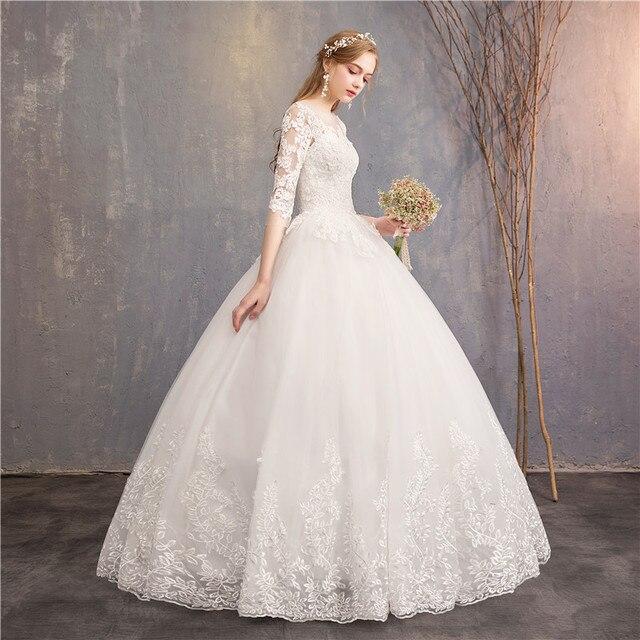 Half Sleeve Wedding Dresses 2021 New Luxury Lace Embroidery Ball Gown Wedding Dress Can Custom Made Vestido De Noiva F 2