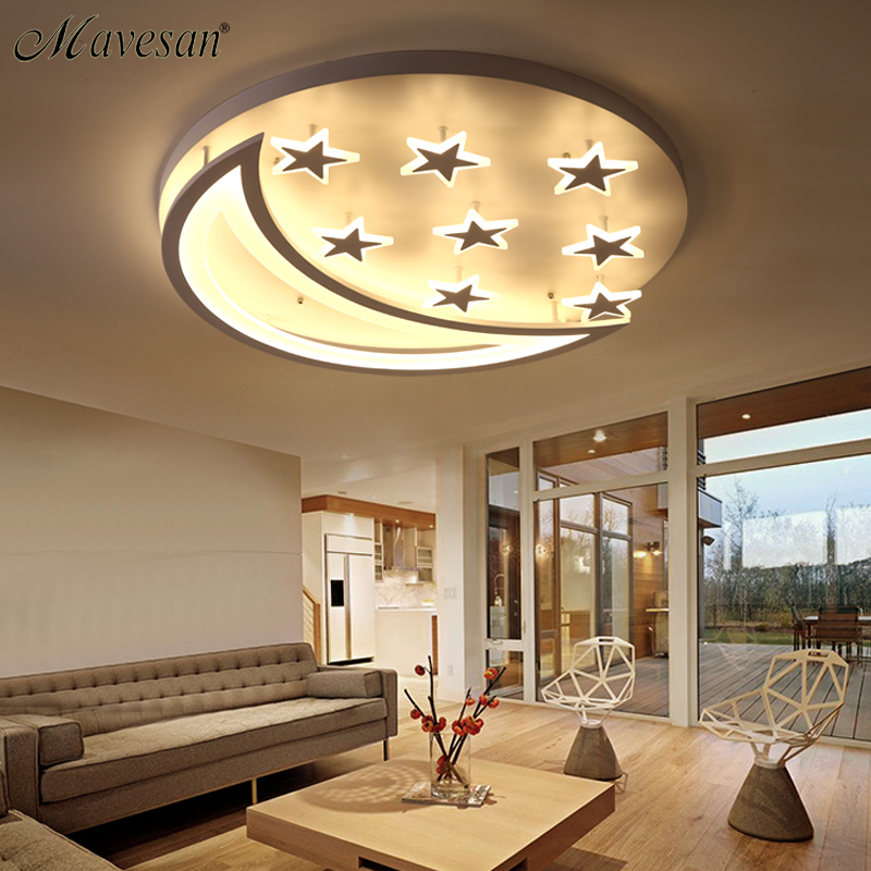 New modern lamp Star and Moon Children Kids Room Bedroom Living Room Chandelier Home Deco Modern Led Ceiling Chandelier Fxitures resin aircraft baby room wood chandelier led acrylic 3 head pendant lamp modern chandelier led children s kids bedroom loft