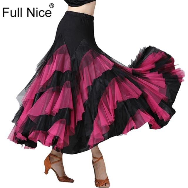 Ballroom Dance Skirt Flower Ruffle  Long Skirt Big Swing Modern Dance Women Tango Stage costumes Flamenco Belly Dance Skirt Walt