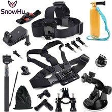 SnowHu Para go pro Accesorios Cabeza pulsera correa de pecho Monopod con Soporte adaptador para GoPro Héroe 5 4 3 + 3 SJ4000 xiaomi yi GS07