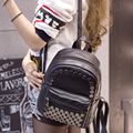 Bag 2017 new  fashion PU backpacks women shoulder bag College  leisure travel PU rivet Korean small backpack
