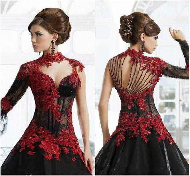 7938927b87c ... Vintage Black and Red Victorian Gothic wedding dresses Masquerade  Halloween 2019 Keyhole High Neck Long Sleeve ...