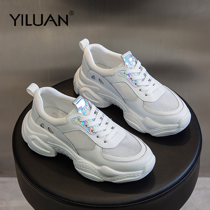 Sports women s shoes Breathable student sneakers genuine leather summer new thick bottom casual Daddy shoes